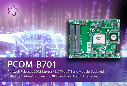 PORTWELL RELEASES INTEL® ATOM® PROCESSOR C3000 SERIES-BASED COM EXPRESS® 3.0 TYPE 7 BASIC MODULE DESIGNED WITH FOUR 10GBE INTERFACES